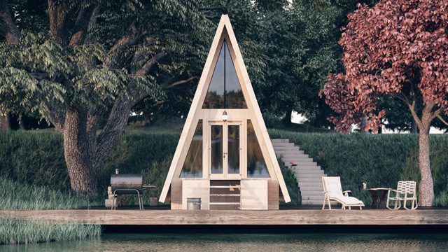 Small triangular house by the water